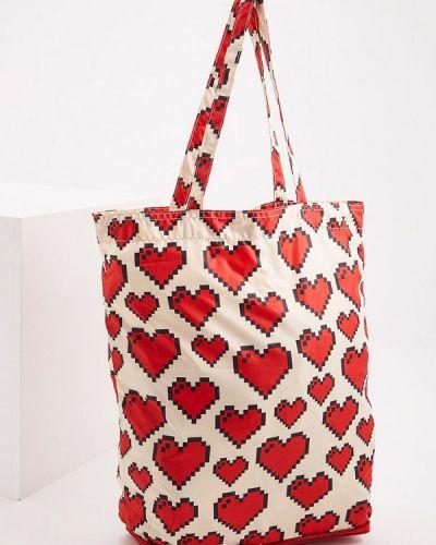 Бежевая сумка шоппер Love Moschino