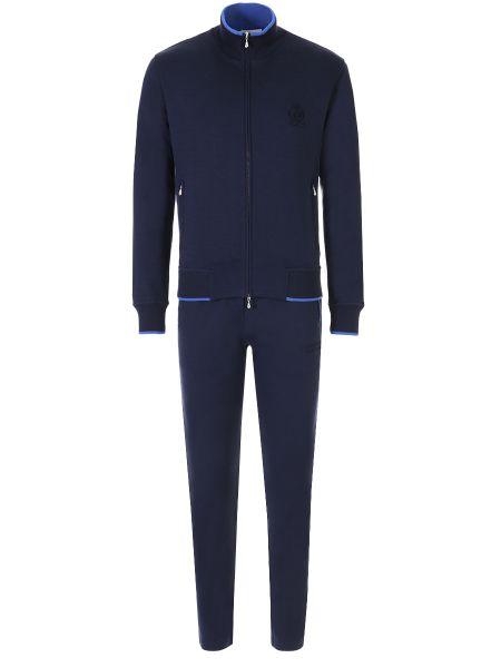 Темно-синий костюмный костюм с вышивкой на молнии Castangia