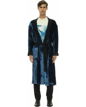 Niebieski szlafrok z aksamitu Triple Rrr