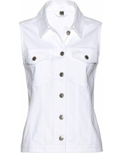 Белая жилетка с карманами Bonprix