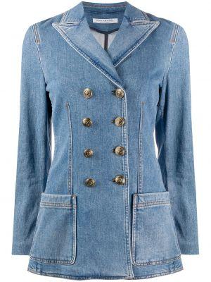С рукавами синяя джинсовая куртка двубортная Philosophy Di Lorenzo Serafini