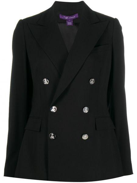 Черная длинная куртка двубортная с карманами Ralph Lauren