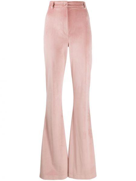 Розовые расклешенные брюки с поясом с высокой посадкой Hebe Studio