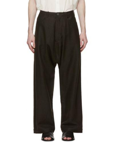 Brązowe spodnie oversize z paskiem Jan-jan Van Essche