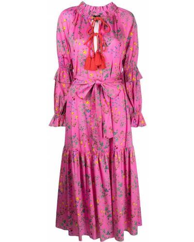 Хлопковое платье миди - розовое Cynthia Rowley