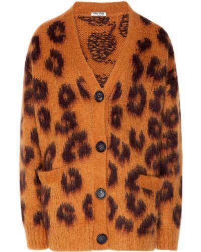 Кардиган леопардовый с карманами Miu Miu