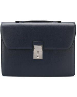 Портфель кожаный темно-синий Canali