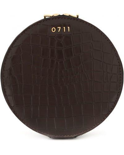 Кожаная коричневая косметичка с декоративной отделкой на молнии 0711