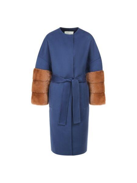 Синее шерстяное пальто с поясом с декоративной отделкой Ava Adore