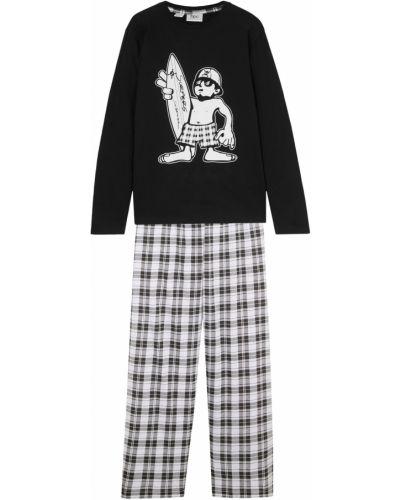 Пижамная хлопковая черная пижама с брюками Bonprix
