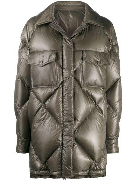 Пуховая зеленая стеганая длинная куртка Moncler