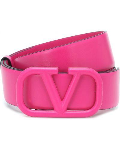 Кожаный розовый ремень с поясом Valentino Garavani