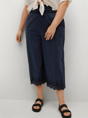 Синие широкие брюки Violeta By Mango