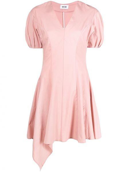 Różowa sukienka mini rozkloszowana krótki rękaw Each X Other