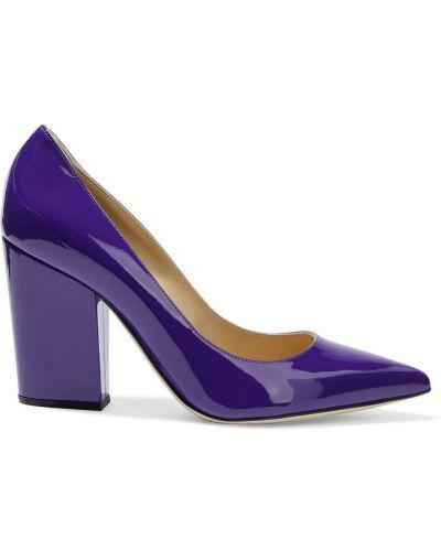 Фиолетовые кожаные туфли-лодочки на каблуке Sergio Rossi