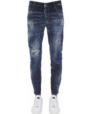 Синие джинсы с карманами байкерские Dsquared2