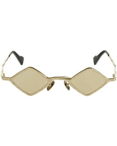 Beżowe złote okulary z diamentem Kuboraum Berlin