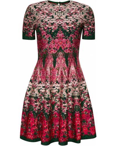 Платье мини с цветочным принтом на молнии Alexander Mcqueen