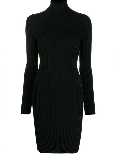 Шерстяное черное приталенное платье в рубчик Wolford