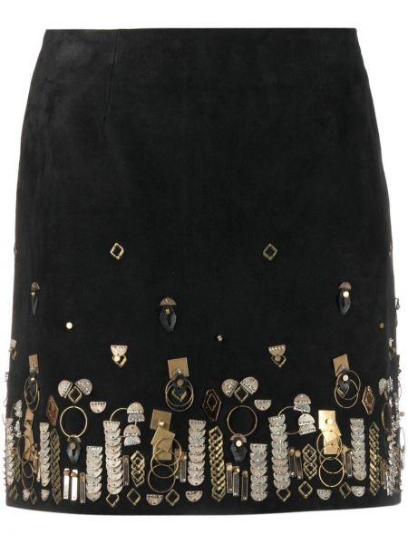 Прямая черная кожаная юбка мини Yves Salomon