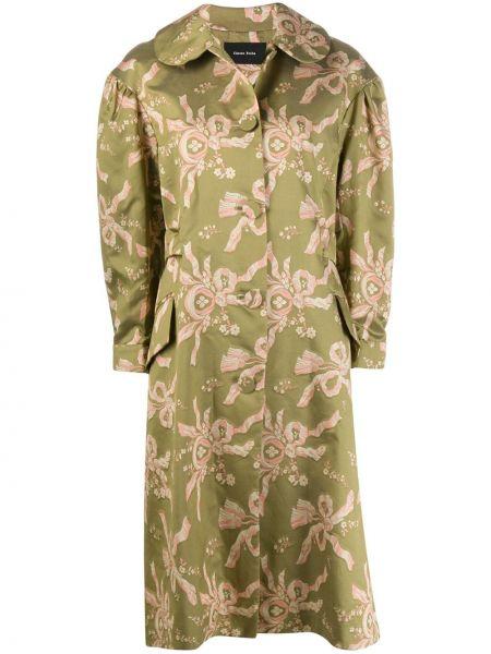 Zielony płaszcz z jedwabiu zapinane na guziki Simone Rocha