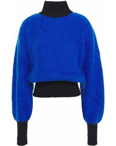 Prążkowany niebieski sweter moherowy Fusalp