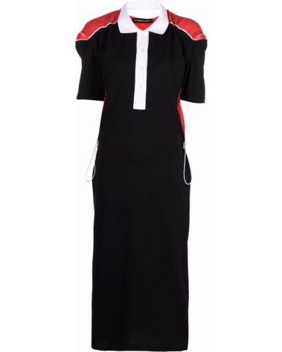 Черное платье миди с поясом с короткими рукавами Y Project