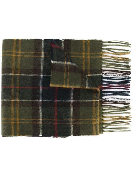 Зеленый кашемировый шарф в клетку Barbour