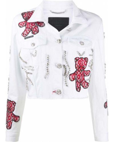 Белая джинсовая куртка с нашивками с воротником Philipp Plein