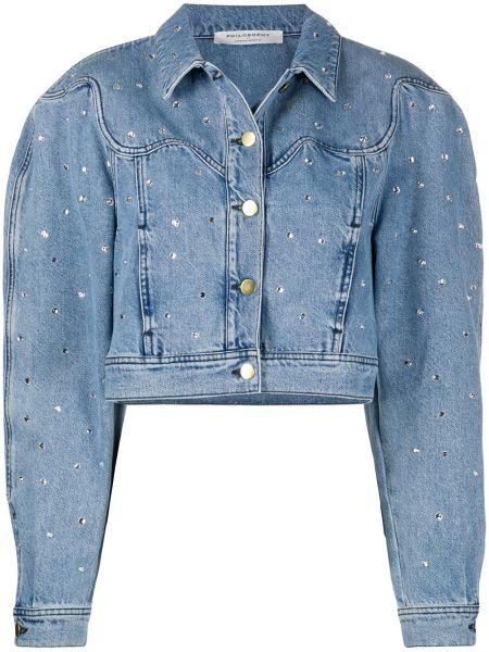 С рукавами синяя джинсовая куртка с камнями Philosophy Di Lorenzo Serafini