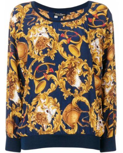 Блузка с длинным рукавом винтажная шелковая Salvatore Ferragamo Vintage