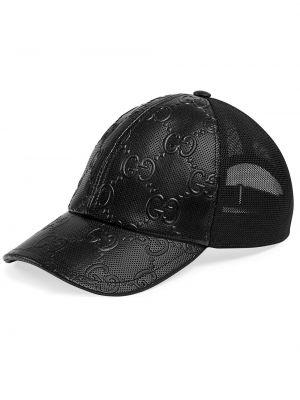 Czarna czapka z siateczką skórzana Gucci