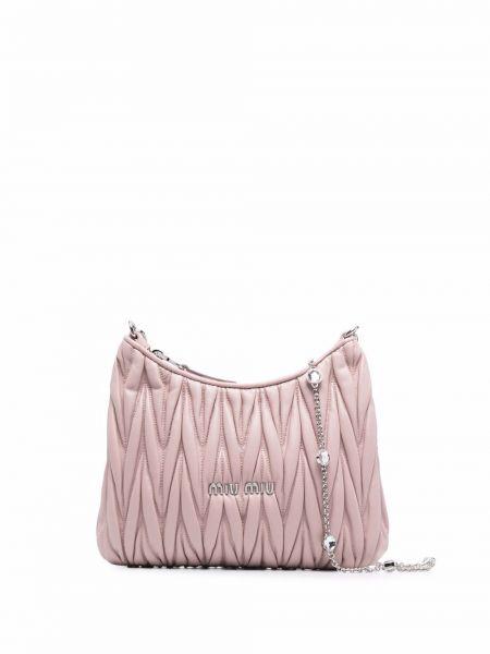 Różowa torebka skórzana Miu Miu