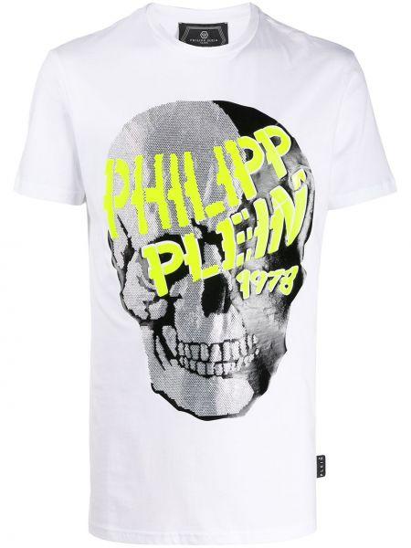 Koszula krótkie z krótkim rękawem prosto z czaszkami Philipp Plein