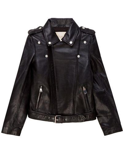Кожаная куртка черная на молнии Maje