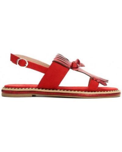 Czerwone sandały skorzane z frędzlami Vices