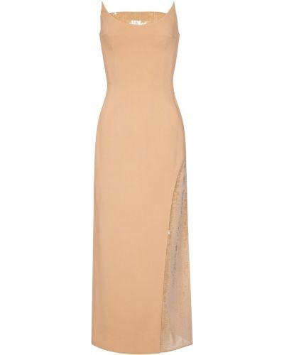 Бежевое теплое платье миди из вискозы David Koma