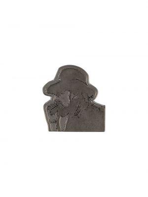 Черная серебряная брошь Yohji Yamamoto