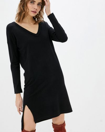 Трикотажное вязаное черное платье Sh