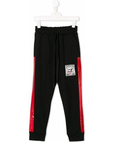 Прямые черные прямые брюки с заплатками с карманами Les Bohemiens Kids