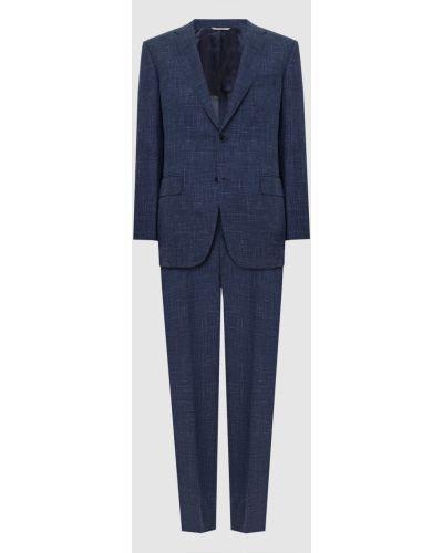 Костюмный шелковый синий костюм Canali