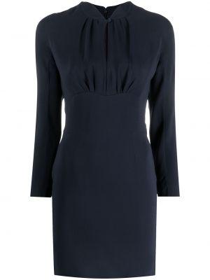 Niebieska sukienka długa z długimi rękawami z jedwabiu Christian Dior