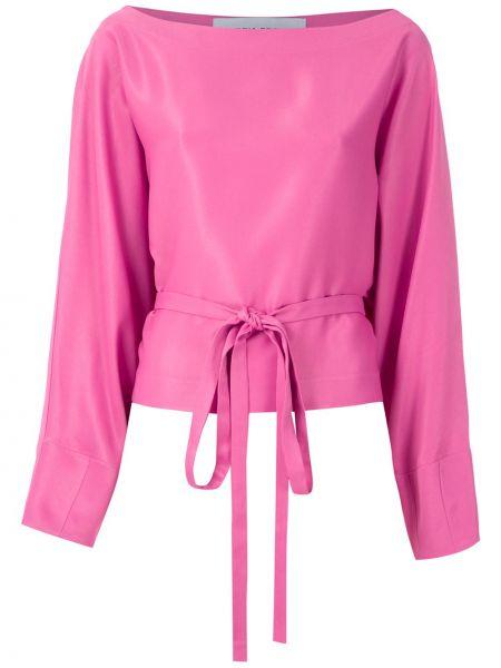 Розовая блузка с длинным рукавом свободного кроя с вырезом из вискозы Gloria Coelho