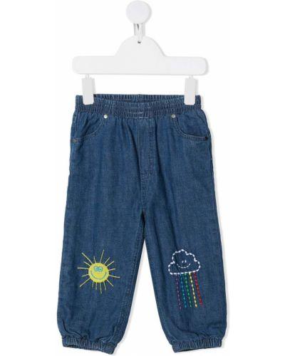 Bawełna niebieski jeansy z kieszeniami z haftem Stella Mccartney Kids