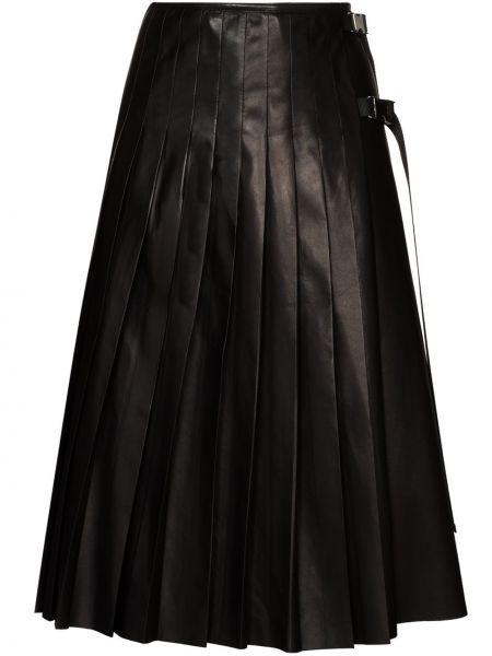 Skórzany pofałdowany czarny spódnica plisowana Prada