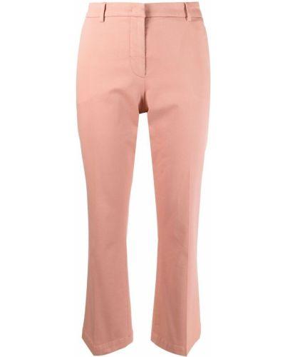 Расклешенные хлопковые розовые укороченные брюки Pt01