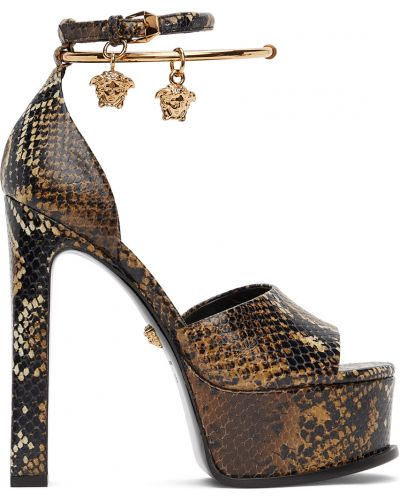 Кожаные сандалии - черные Versace