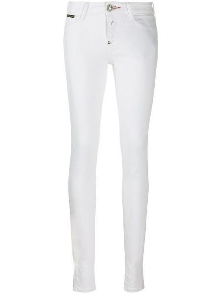 Białe jeansy bawełniane z paskiem Philipp Plein