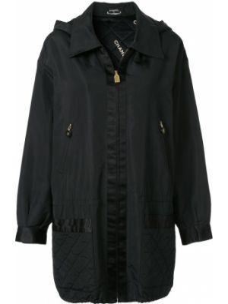 Черная куртка с капюшоном на молнии Chanel Pre-owned