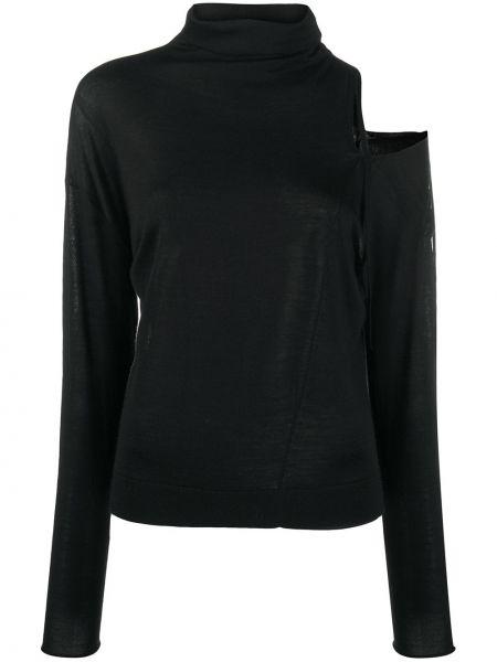 Черный шерстяной вязаный длинный свитер Dorothee Schumacher